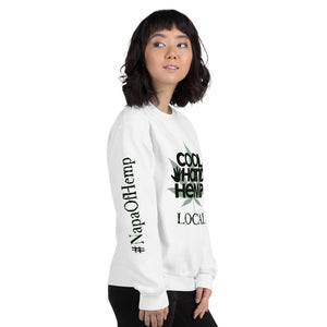 Unisex Sweatshirt - CoolHandHemp.com - Frt / Bck / Sleeves White or Sport Gray
