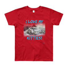 "Load image into Gallery viewer, Youth Short Sleeve T-Shirt // VLR ""I LOVE MY KITTIES!"""