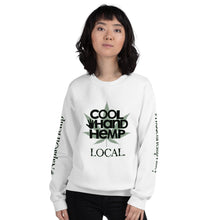Load image into Gallery viewer, Unisex Sweatshirt - CoolHandHemp.com - Frt / Bck / Sleeves White or Sport Gray