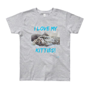 "Youth Short Sleeve T-Shirt // VLR ""I LOVE MY KITTIES!"""