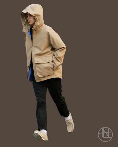 "nanamica boy in Daikanyama Vol. 21 ""Clothing made of GORE-TEX is dependable even on rainy days."""