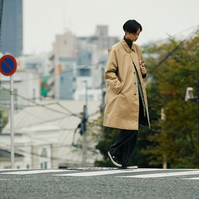 "nanamica boy in Daikanyama Vol. 18 ""Balmacaan and down coat."""