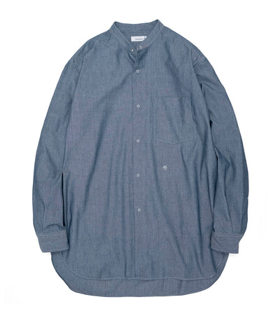 SUGS133_Band Collar Wind Shirt_ID(Indigo)