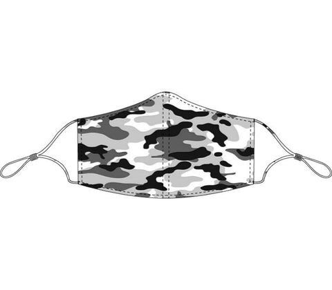 Decorated Light and Dark Gray Camo Face Mask