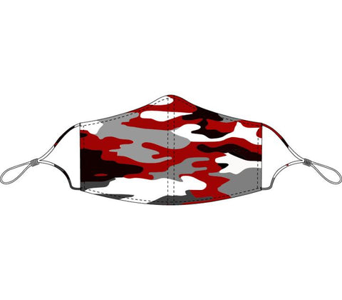 Decorated Red and Gray Camo Face Mask