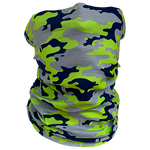 Decorated Neon Green Camo Neck Gaiter