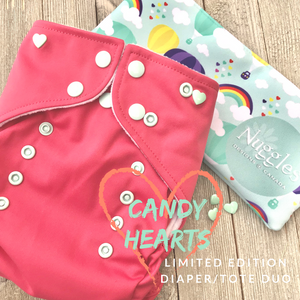 Candy Hearts Limited Edition Diaper/Tote Duo, Nuggles Designs Canada - Nuggles Designs Canada