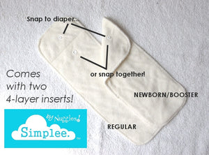 Simplee Stay-dry Bamboo AI2 Diaper (OS), Nuggles!™ - Nuggles Designs Canada