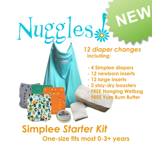 Simplee™ Stay-dry Bamboo Starter Kit (12 diaper changes), Nuggles!™ Modern Cloth Diapers - Nuggles Designs Canada