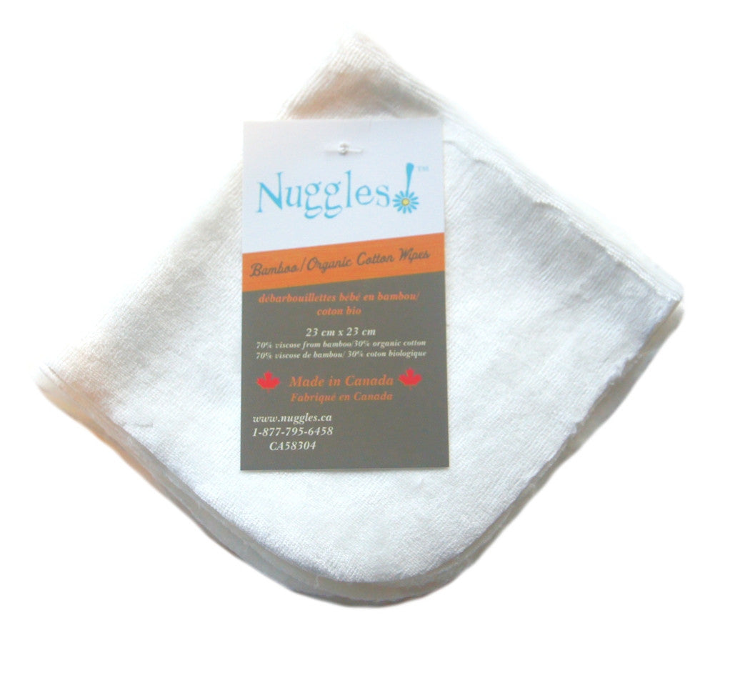 Nuggles!™ Bamboo/Organic Cotton Velour Wipes - 5pk