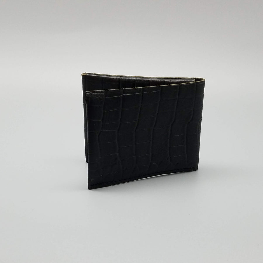 BLACK TEXTURED FOLDING WALLET