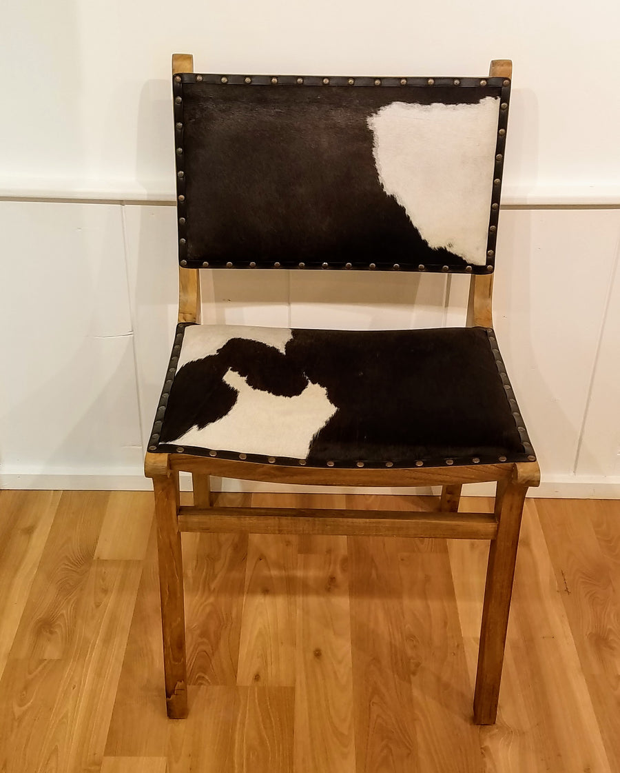 COWHIDE TEAK DINNING CHAIR