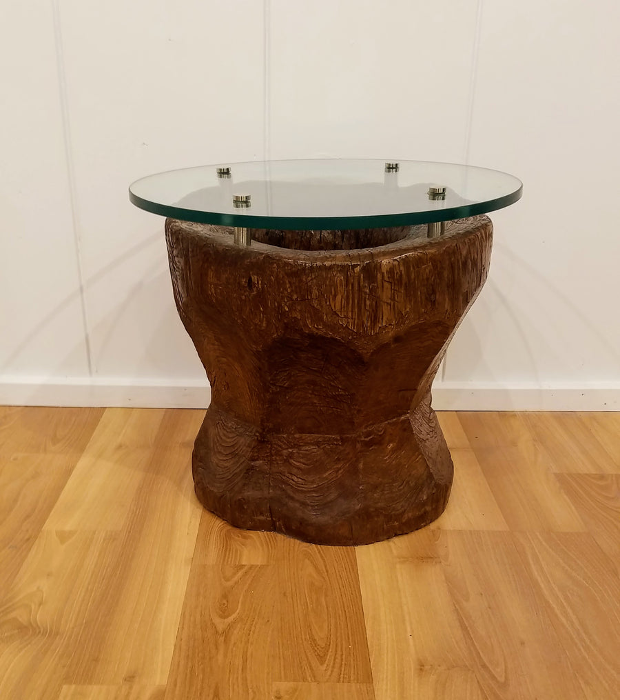 RICE MILL GLASS SIDE TABLE