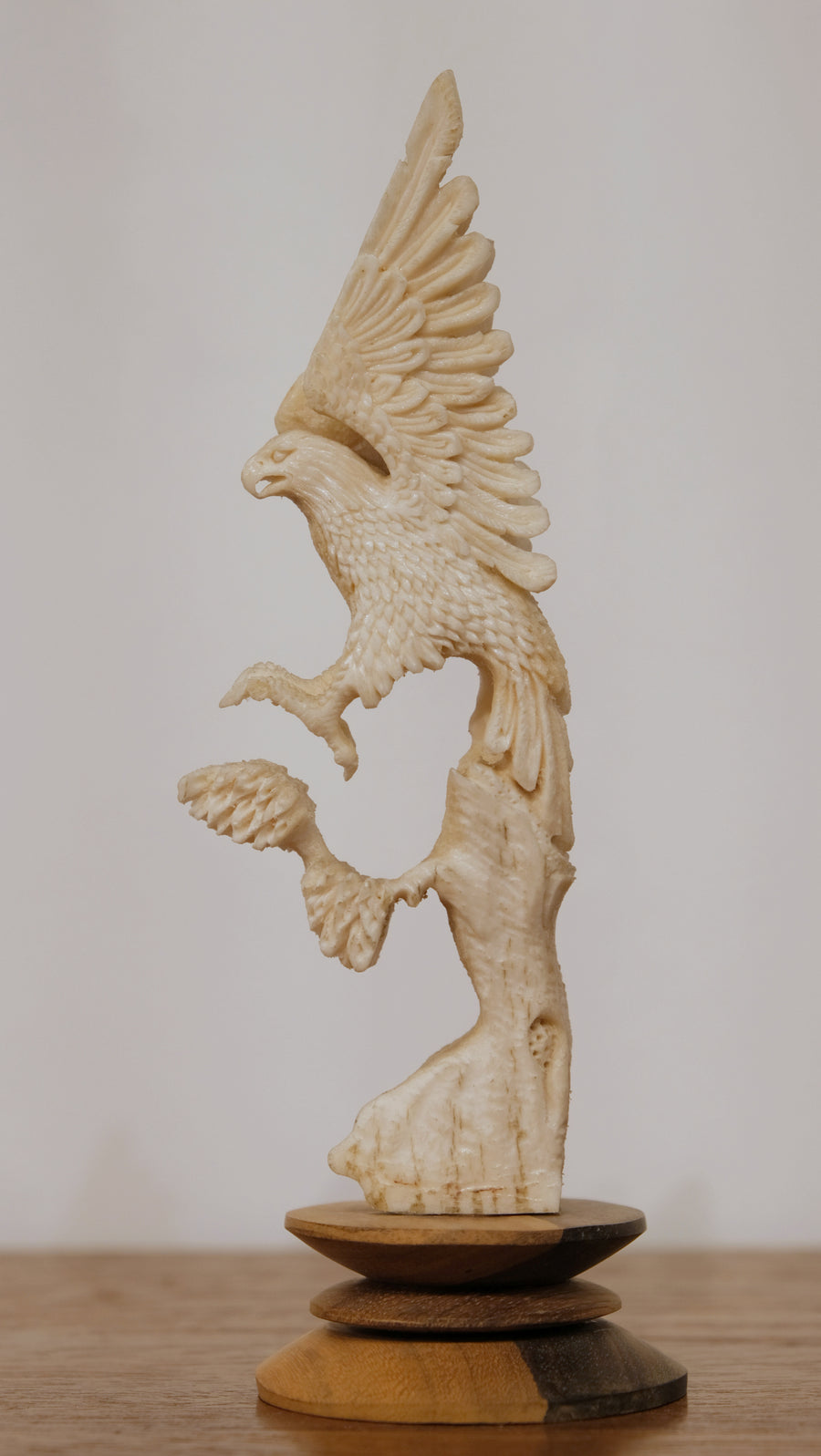FLYING EAGLE CARVED INTO BONE