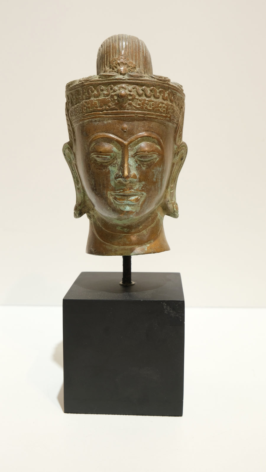LARGE ANTIQUED METAL BUDDHA HEAD