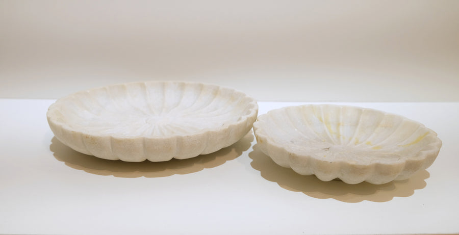 CARVED WHITE MARBLE BOWLS