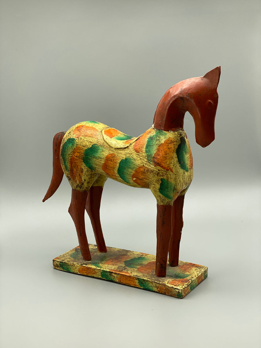HAND PAINTED WOODEN HORSE