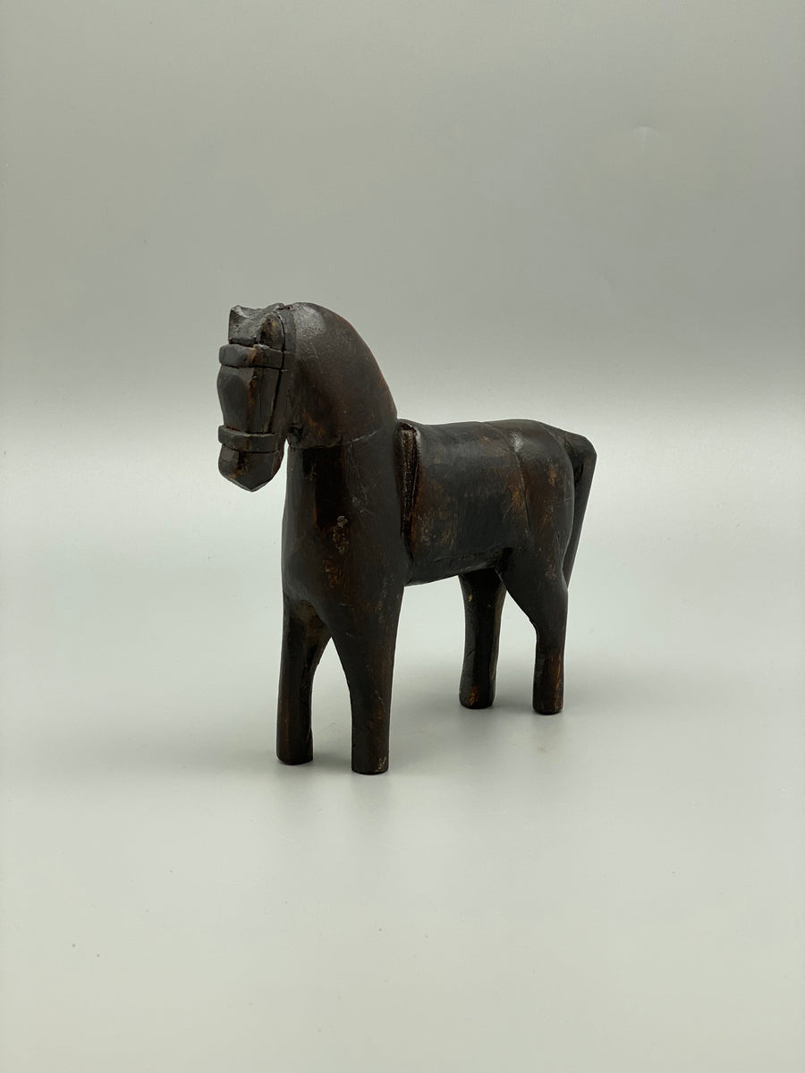 WOODEN CARVED HORSE SCULPTURE