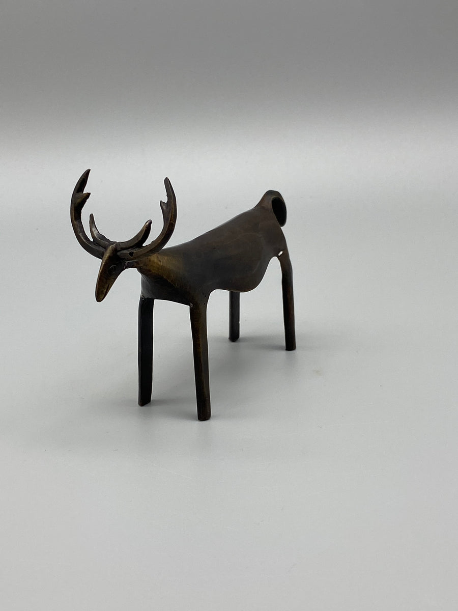 DARK BRONZE DEER SCULPTURE