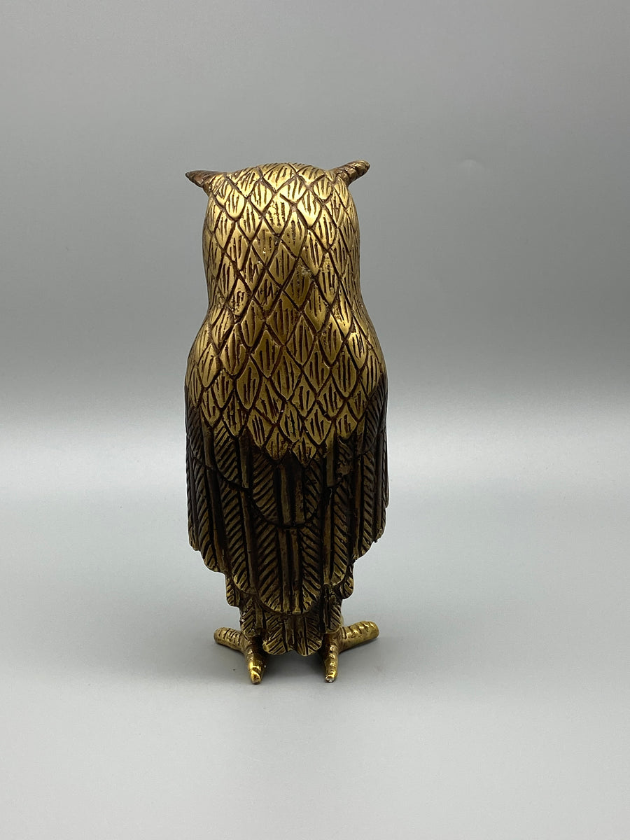 LARGE BRONZE OWL SCULPTURE