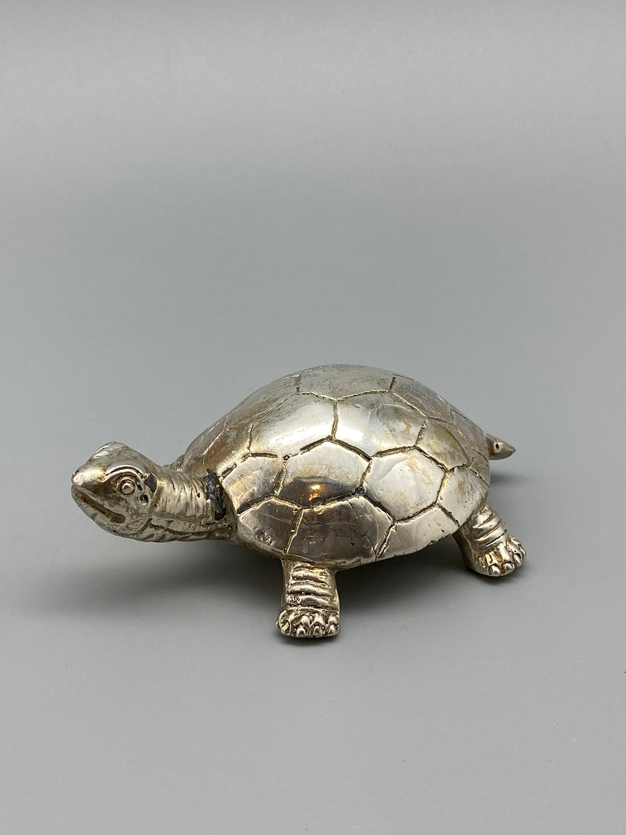 SILVER TURTLE SCULPTURE