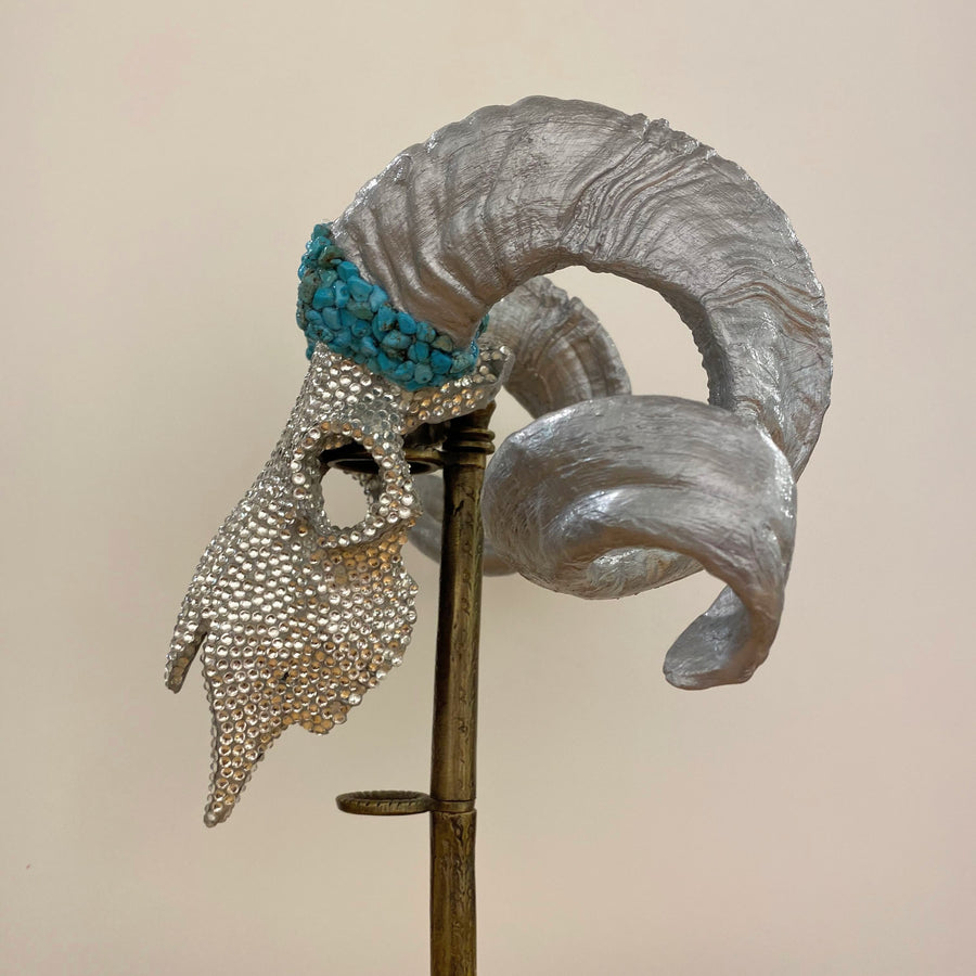 TURQUOISE  AND CRYSTALS - EMBELLISHED ANIMAL SKULL