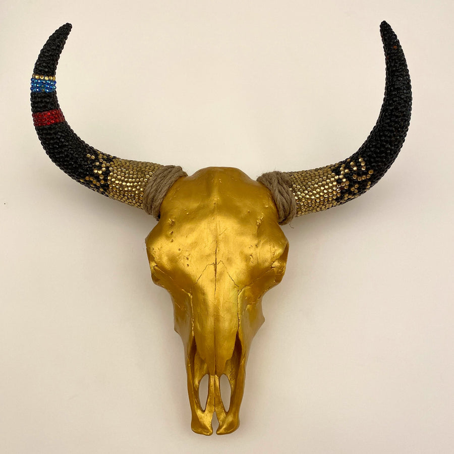 GOLDIE - GOLD SKULL WITH MULTI COLOR EMBELLISHED HORNS