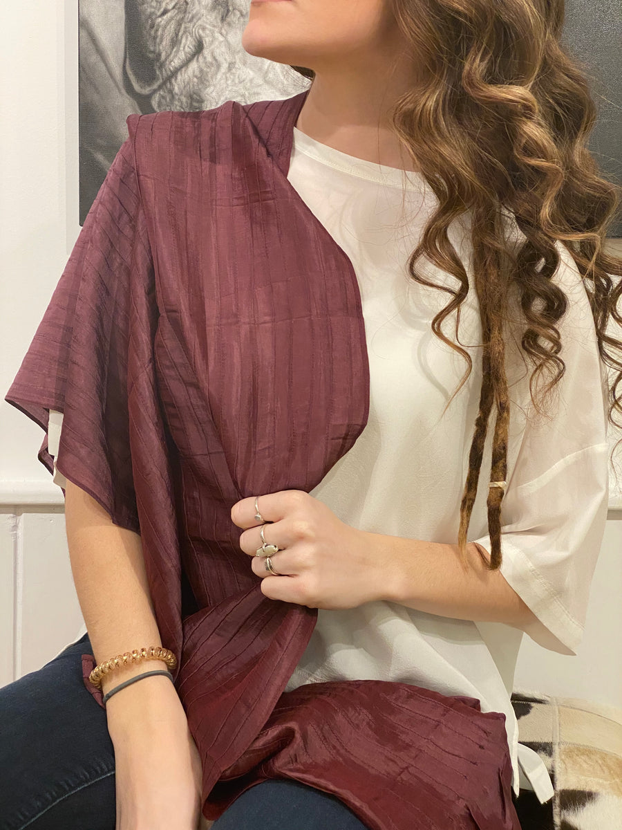 PLEATED SILK SCARF