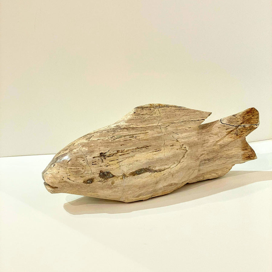 CARVED PETRIFIED WOOD FISH