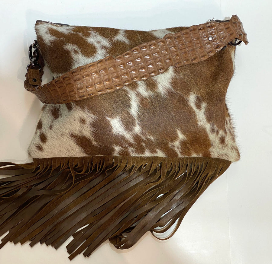 FRINGED HIDE BAG WITH CROCODILE STRAP