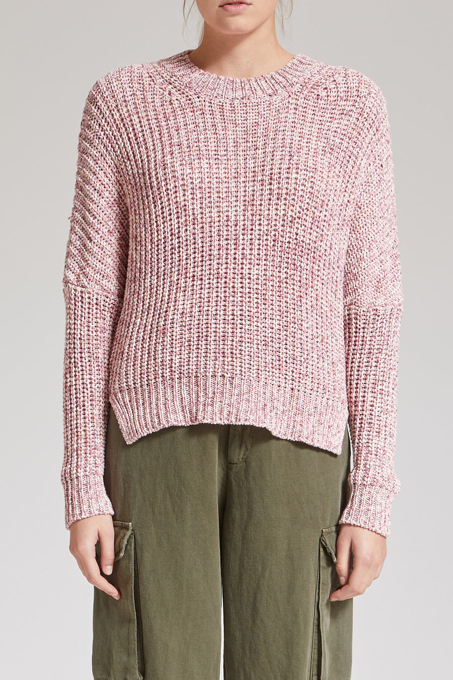 DUSTY ROSE SPRAYED KNITTED SWEATER
