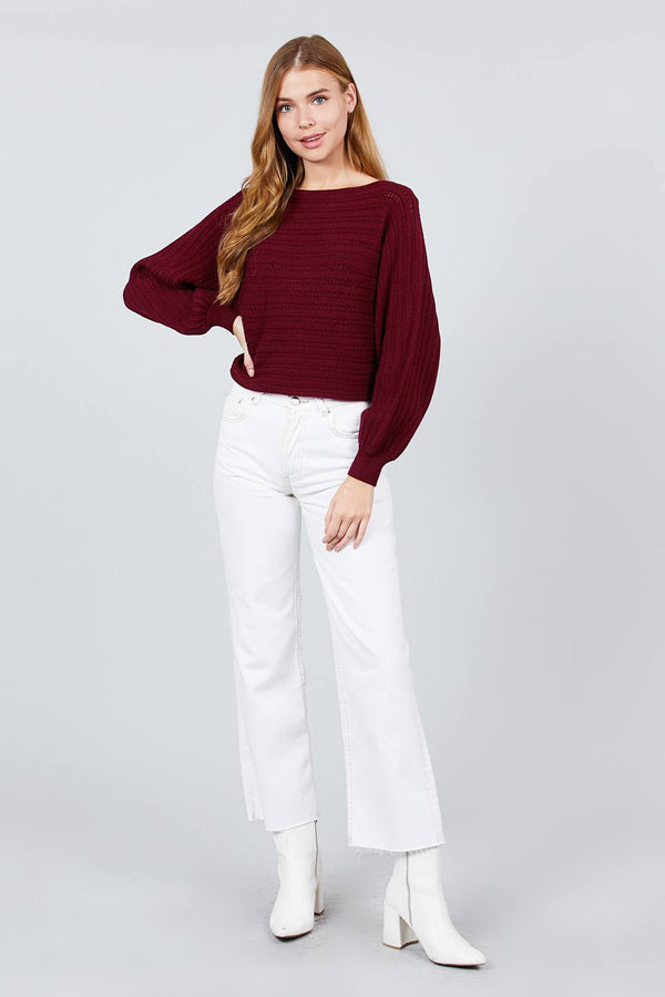 Dolman Sleeve Boat Neck Sweater | Vanilla Mode