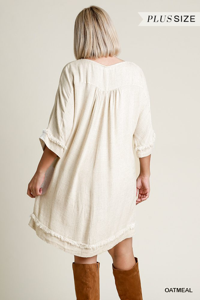 Linen Blend Round Neck Half Sleeve Dress With Chest Pocket And Frayed Edge Detail | Vanilla Mode
