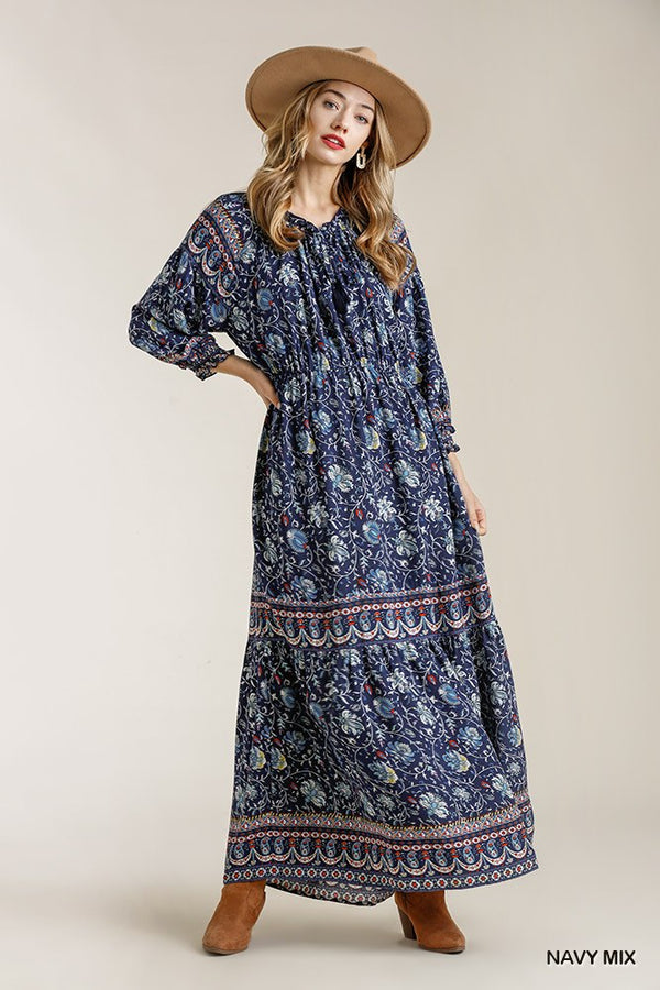 Paisley Print Smocked Ruffle Cuff Sleeve Elastic Waist Maxi Dress With Front String Tie | Vanilla Mode