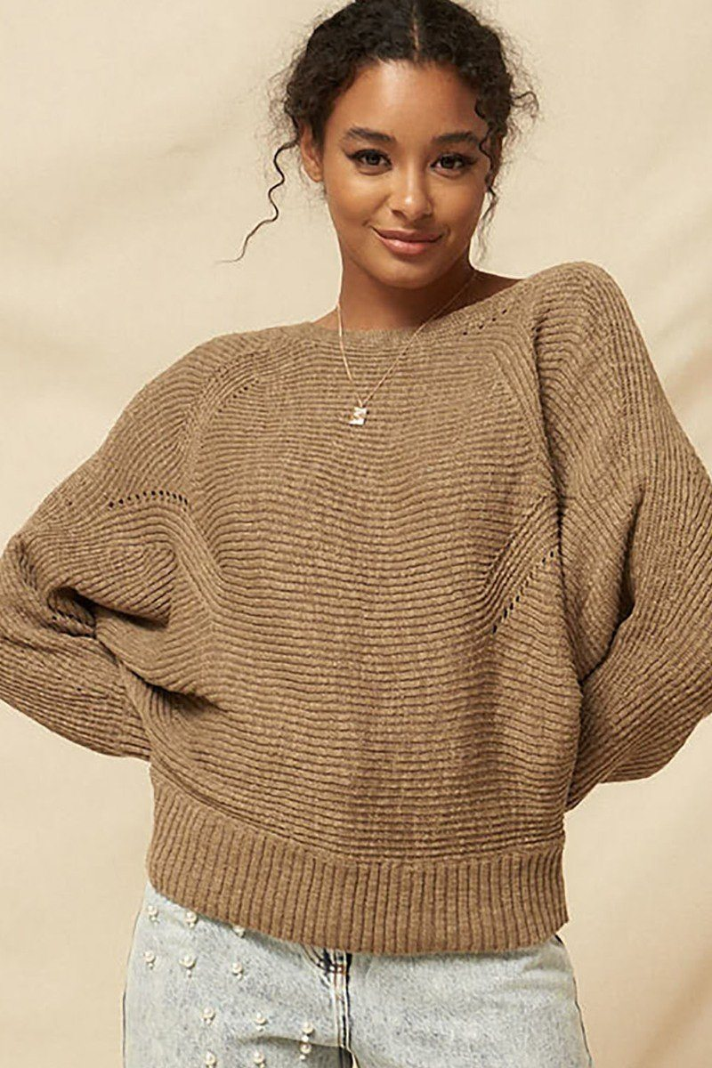 A Ribbed Knit Sweater