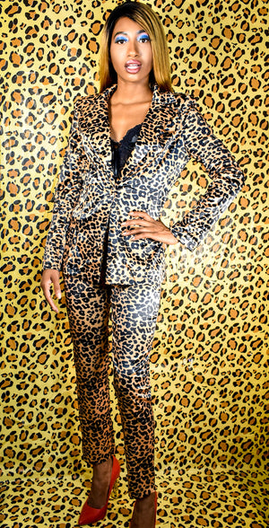 Leopard Blazer & Pants Suit
