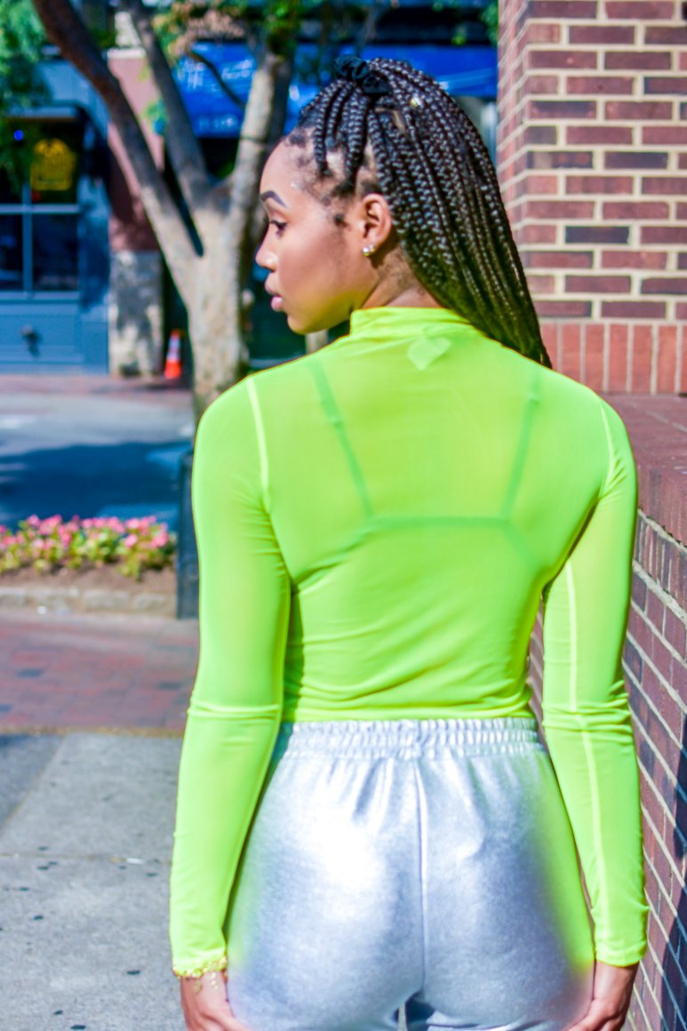 Neon Green Sheer Mesh Top - I AM THE LIST