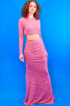 Pink Long Sleeve Crop &  Maxi Skirt - I AM THE LIST