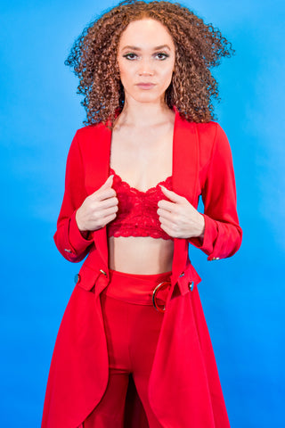 Red Peplum Jacket - I AM THE LIST