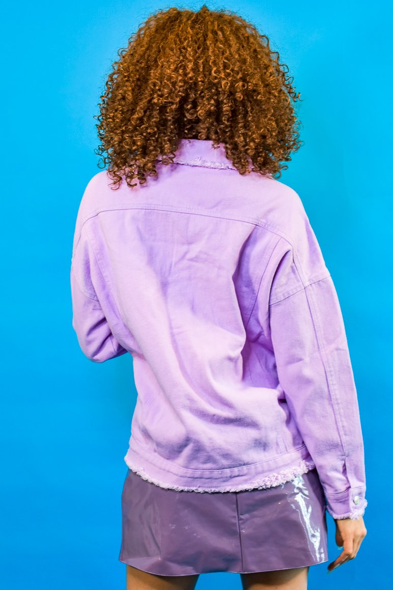 Oversized Lavender Frayed Denim Jacket - I AM THE LIST