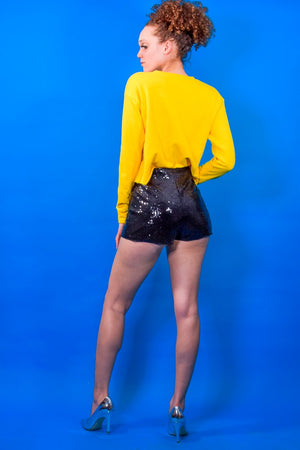 Sequins Shorty High Waist Shorts - I AM THE LIST