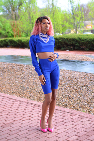 Blue Two Piece Crop Top & Shorts Set - I AM THE LIST