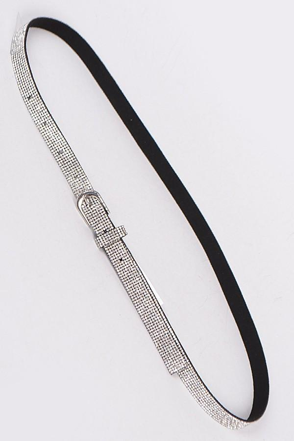 Rhinestone Covered Bling Skinny Belt - I AM THE LIST