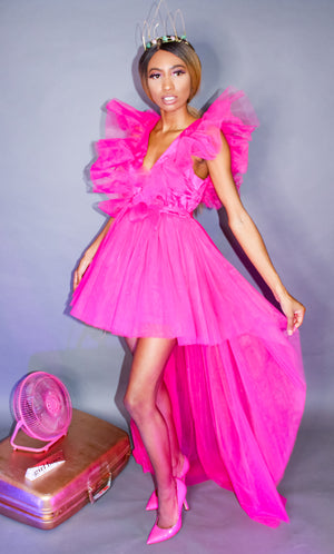 Pink Tulle High Low Maxi Dress With Sleeves