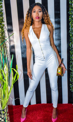 White Latex Jumpsuit
