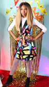Abstract Multicolor Blazer Dress