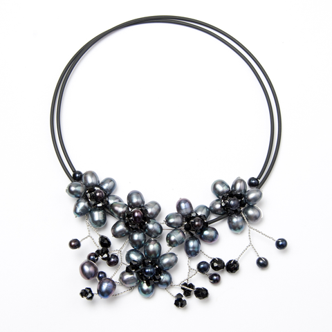 Black Flowered Pearl Choker