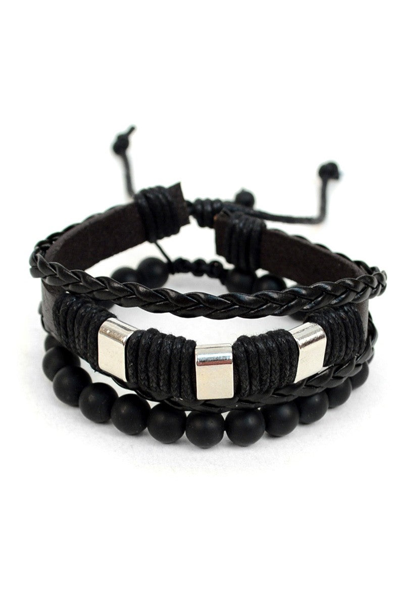 2pc Leather & Stone Bracelet - LURE Boutique