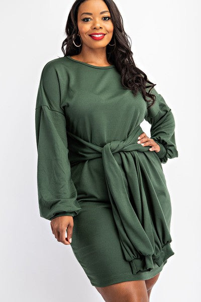 Sweatshirt Dress w/Tie Front - LURE Boutique