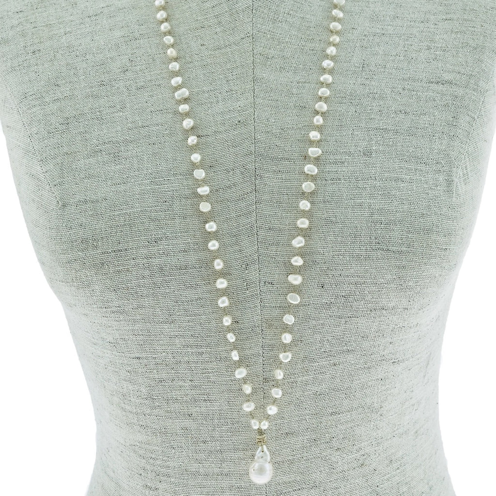 "36"" Ivory Hand Knotted Freshwater Pearl Necklace Ivory - LURE Boutique"